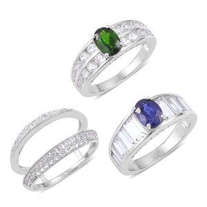 Russian Diopside, Masoala Sapphire, White Topaz Sterling Silver Interchangeable Rings (Size 7) TGW 9.43 cts.