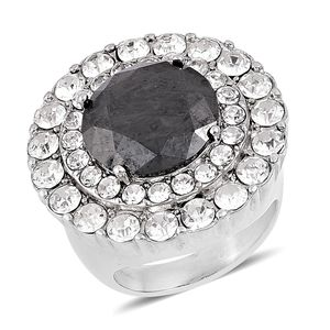 Simulated Black Spinel, White Austrian Crystal Stainless Steel Statement Ring (Size 8.0) TGW 20.00 cts.