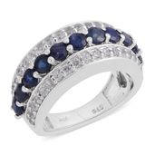 Kanchanaburi Blue Sapphire, Cambodian Zircon Platinum Over Sterling Silver Ring (Size 5.5) TGW 2.40 cts.