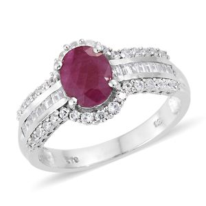 Burmese Ruby, Cambodian Zircon Platinum Over Sterling Silver Ring (Size 10.0) TGW 3.19 cts.