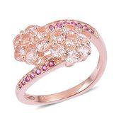 Marropino Morganite, Orissa Rhodolite Garnet 14K RG Over Sterling Silver Floral Bypass Ring (Size 5.0) TGW 2.25 cts.