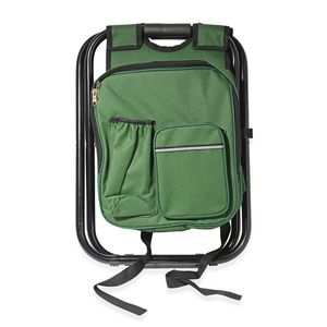 Green Canvas, Iron Inbuilt Back Pack with Portable Folding Chair (19.7x13.8 in)