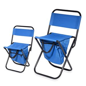 Set of 2 Blue Portable Canvas and Iron Back Support Folding Chair with Storage Pouch (24x10.5x10.5 in, 20x7.5x9 in)