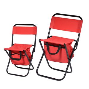 Set of 2 Red Portable Canvas and Iron Back Support Folding Chair with Storage Pouch (24x10.5x10.5 in, 20x7.5x9 in)