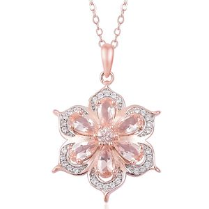 Marropino Morganite, White Zircon Vermeil RG Over Sterling Silver Flower Pendant With Chain (18 in) TGW 1.90 cts.
