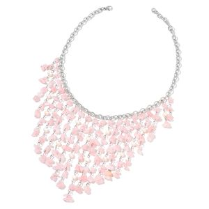 Galilea Rose Quartz, Freshwater Pearl Silvertone Bib Necklace (18 in) TGW 251.75 cts.