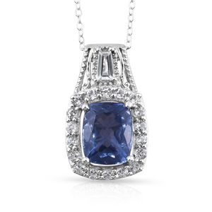 Color Change Fluorite, White Topaz Platinum Over Sterling Silver Pendant With Chain (20 in) TGW 4.52 cts.