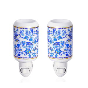 Set of 2 Blue and White Pattern Ceramic Cylinder Shaped Aroma Diffuser Nigh Light (2.95x3.54x4.52 in)