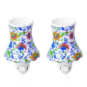 Set of 2 White Ceramic Flower Pattern Bulb Shaped Aroma Diffuser Nigh Light (2.16x3.34x4.92 in)