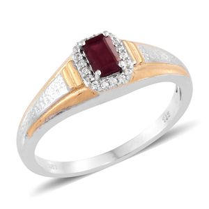 Niassa Ruby, Cambodian Zircon 14K YG and Platinum Over Sterling Silver Men's Signet Ring (Size 12.0) TGW 0.98 cts.