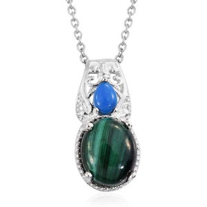 African Malachite, Ceruleite Sterling Silver Pendant With Stainless Steel Chain (20 in) TGW 7.83 cts.