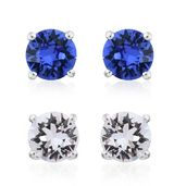 Sterling Silver Set of 2 Stud Earrings Made with SWAROVSKI White and Sapphire Crystal TGW 3.38 cts.