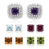 Asscher Cut Multi Gemstone Platinum Over Sterling Silver Set of 5 Stud Earrings TGW 8.35 cts.