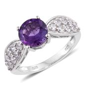 Lusaka Amethyst, Cambodian Zircon Platinum Over Sterling Silver Ring (Size 10.0) TGW 3.91 cts.