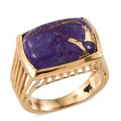 GP Mojave Purple Turquoise 14K YG Over Sterling Silver Ring (Size 8.0) TGW 13.43 cts.