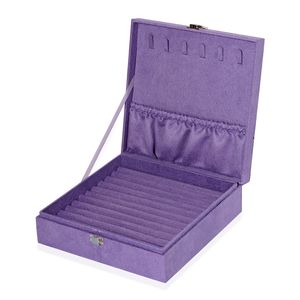Lilac Velvet Jewelry Box (8x2.5x8 in) and Multi Color Set of 5 Silver Polishing Clean Cloth (4x3in)