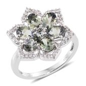 Green Tanzanite, Cambodian Zircon Platinum Over Sterling Silver Ring (Size 9.0) TGW 3.48 cts.