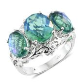 Peacock Quartz Platinum Over Sterling Silver Trilogy Ring (Size 10.0) TGW 11.56 cts.