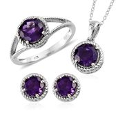 Lusaka Amethyst Platinum Over Sterling Silver Earrings, Ring (Size 6) and Pendant With Chain (20 in) TGW 6.20 cts.
