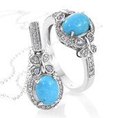 Arizona Sleeping Beauty Turquoise, Tanzanite, Cambodian Zircon Platinum Over Sterling Silver Ring (Size 7) and Pendant With Chain (20 in) TGW 4.02 cts.