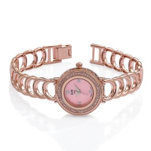 EON 1962 Natural Pink Diamond Swiss Movement Watch on Bracelet in Vermeil RG Over Sterling Silver TDiaWt 0.33 cts, TGW 0.33 cts.