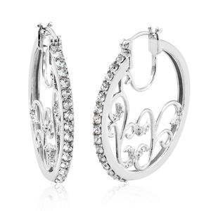 KARIS Collection - Platinum Bond Brass Hoop Earrings Made with SWAROVSKI White Crystal TGW 1.35 cts.