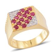 Burmese Ruby, Cambodian White Zircon 14K YG Over Sterling Silver Men's Ring (Size 9.0) TGW 2.04 cts.
