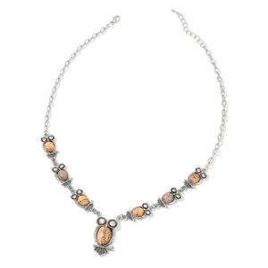 Picture Jasper, White Austrian Crystal Black Oxidized Silvertone Necklace (22 in) TGW 141.50 cts.