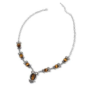 South African Tigers Eye, White Austrian Crystal Black Oxidized Silvertone Necklace (22 in) TGW 133.50 cts.