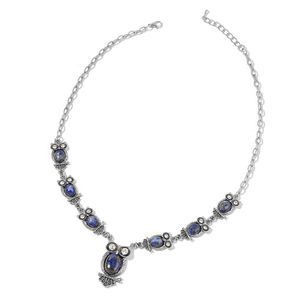 Lapis Lazuli, White Crystal Black Oxidized Silvertone Necklace (22 in) TGW 144.50 cts.