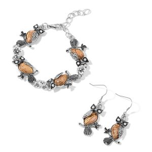 Picture Jasper, White Austrian Crystal Black Oxidized Iron and Stainless Steel Owl Earrings and Bracelet (7.50 In) TGW 84.40 cts.