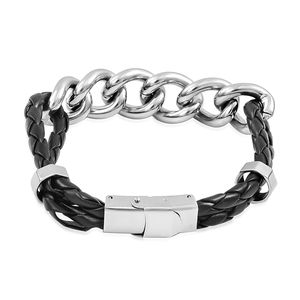 Woven Faux Leather, Stainless Steel Curb Bracelet (8.50 In)