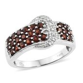 KARIS Collection - Mozambique Garnet, Simulated Diamond Platinum Bond Brass Buckle Ring (Size 5.0) TGW 1.54 cts.