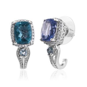 Color Change Fluorite, Tanzanian Kornerupine, Cambodian Zircon Platinum Over Sterling Silver J-Hoop Earrings TGW 5.38 cts.