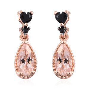 Marropino Morganite, Thai Black Spinel Vermeil RG Over Sterling Silver Drop Earrings TGW 1.48 cts.