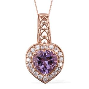 Rose De France Amethyst, Cambodian Zircon Vermeil RG Over Sterling Silver Pendant With Chain (20 in) TGW 6.81 cts.