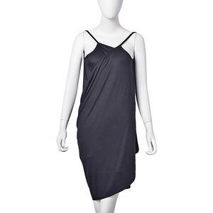 Black 95% Viscose & 5% Spandex Beach Mini Wrap Slip Dress (One Size)