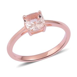 Marropino Morganite 14K RG Over Sterling Silver Solitaire Ring (Size 5.0) TGW 1.30 cts.