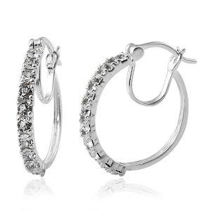Sterling Silver Hoop Earrings Made with SWAROVSKI White Crystal