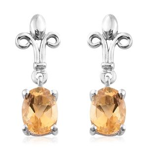 Brazilian Citrine Platinum Over Sterling Silver Fleur De Lis Earrings TGW 1.52 cts.