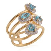 Madagascar Paraiba Apatite, Cambodian Zircon 14K YG Over Sterling Silver Swirl Ring (Size 6.5) TGW 1.90 cts.