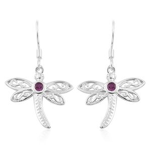 Premium Ruby Sterling Silver Dragonfly Earrings TGW 0.38 cts.