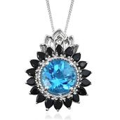Caribbean Quartz, Thai Black Spinel Platinum Over Sterling Silver Pendant With Chain (20 in) TGW 11.23 cts.