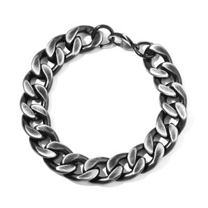 ION Plated Black Stainless Steel Men's Curb Bracelet (8.50 in)