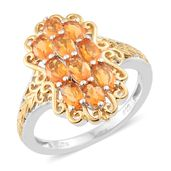 Salamanca Fire Opal 14K YG and Platinum Over Sterling Silver Cluster Ring (Size 9.0) TGW 1.50 cts.