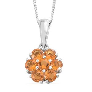 Salamanca Fire Opal Platinum Over Sterling Silver Floral Pendant With Chain (20 in) TGW 0.84 cts.