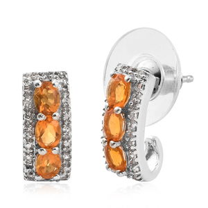 Salamanca Fire Opal, Cambodian Zircon Platinum Over Sterling Silver Earrings TGW 0.85 cts.