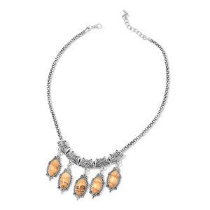 Picture Jasper Black Oxidized Silvertone Drop Charms Necklace (18 in) TGW 65.00 cts.