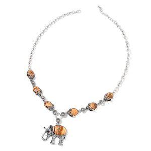 Picture Jasper, Black Austrian Crystal Black Oxidized Silvertone Elephant Necklace (22 in) TGW 147.50 cts.