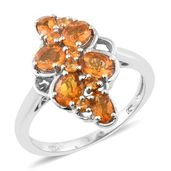 Salamanca Fire Opal Platinum Over Sterling Silver Ring (Size 7.0) TGW 1.35 cts.